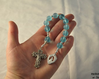 Unique Turquoise Seaglass Our Lady of La Leche Rosary With Pewter Lattice Crucifix
