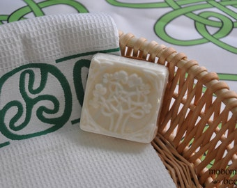 Modomnoc's Bees Irish Shamrock Tree Celtic Knot Work Design Square Soap in Your Choice of Soap Base and Scent