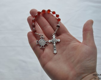 St. Benedict One-Decade Carnelian Rosary With Red St. Benedict Cross Medal and Pewter Crucifix