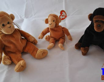 Beanie Baby Primates: Vintage 1995 Bongo the Monkey & 1996 Congo the Gorilla
