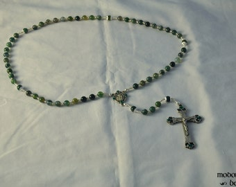 Green Moss Agate Rosary With Shamrock Crucifix and St. Patrick Centerpiece