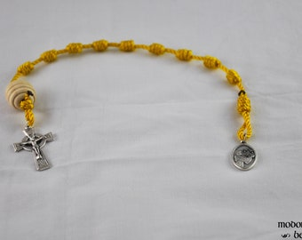 St. Modomnoc Single Decade Golden Yellow Knotted Twine Rosary with a Wooden Beehive Our Father Bead and a Celtic Crucifix