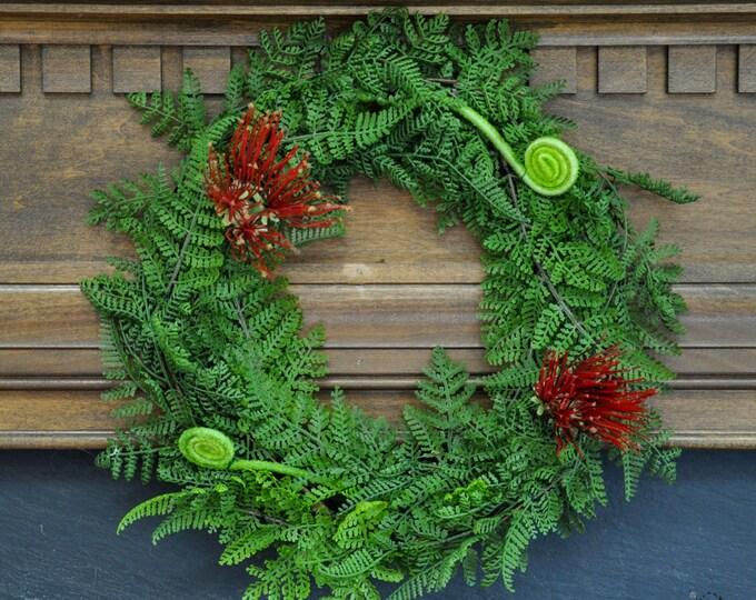 Featured listing image: Christmas Wreath: New Zealand Christmas Wreath with Pohutukawa Flower and Silver Fern Koru