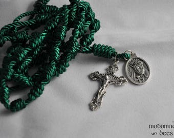 Green Knotted Twine Rosary Featuring a St. Margaret, Queen of Scotland, Patron Saint Medal