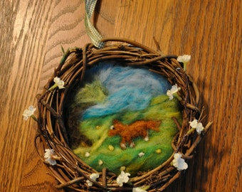 Chestnut Horse in a Peaceful Meadow with Tree and Little Flowers Wool Art with Grapevine Frame, White Flowers, and Plaid Hanging Ribbon