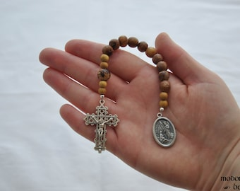 St. Rafael One-Decade Rosary With Sea Urchin Spine Beads, Acai Nut Our Father, and Jackfruit Wood Spacers