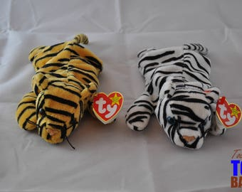 Stripes the Tiger Vintage 1995 Beanie Baby & Blizzard the White Tiger Vintage 1996 Beanie Baby