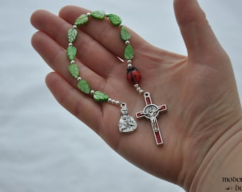 Adorable St. Francis One-Decade Kids' Rosary With Ladybug Our Father Bead, Green Leaf Beads, and Red Holy Spirit Crucifix