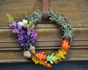 Beorn's Garden Wreath: Lupine, Oak Leaves, Acorns, Moss, and a Wool Bee.  Hobbit/Tolkien Decor
