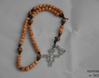 St. Francis of Assisi Figure Medal Dark Brown Knotted Twine and Palm Wood Bead Rosary Featuring a San Damiano Crucifix
