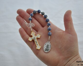St. Brendan the Navigator One-Decade Kids' Rosary With Sodalite Beads and Whale Our Father Bead With White & Gold Crucifix