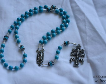 Unique Turquoise Our Lady of Guadalupe Rosary Featuring Dyed Magnesite Beads and a Caravaca Crucifix