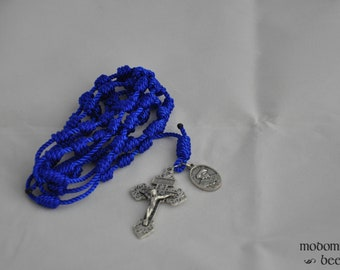 Blue Knotted Twine Rosary Featuring a Pardon Crucifix and a St. Thomas More Patron Saint Medal