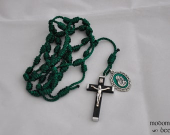 Green Knotted Twine Rosary Featuring a Large Black Wood and Silver Crucifix and a Large Green Detailed St. Joseph Patron Saint Side Medal