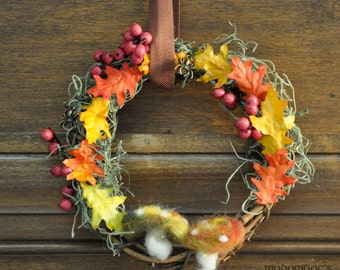 Mirkwood/Woodland Realm Ringwreath: Tolkien/Hobbit Inspired Decor Featuring Oak Leaves, Red Berries, Moss, Wool Mushrooms, & Spider Charms