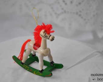 Christmas Rocking Horse Ornament with Red Yarn Mane