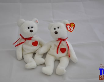 Cute Vintage 1994 Ty Beanie Baby Valentino the White with Red Heart Bear