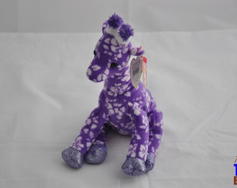 Sunnie the Giraffe 2006 Ty Beanie Baby - Purple With Hibsicuses