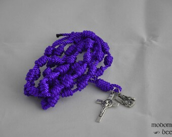 Purple Knotted Twine Rosary Featuring a St. Benedict Crucifix and a St. Joan of Arc Patron Saint Figure Medal