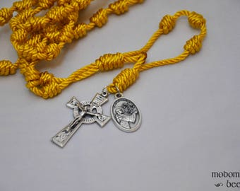 St. Modomnoc Knotted Twine Rosary: Unique Golden Yellow St. Modomnoc Bee Patron Saint Knotted Twine Rosary with a Celtic Irish Crucifix