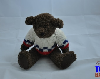 Vintage 1996 Berkely Designs Brown Teddy Bear with Wool Sweater and Movable Arms & Legs