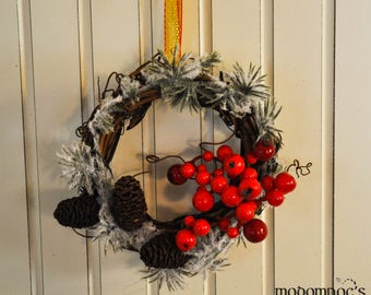 Christmas Ornament or Wreath: 4-Inch Grapevine Wreath with Frosted Pine, Red Berries, Pinecones, and a Gold Ribbon