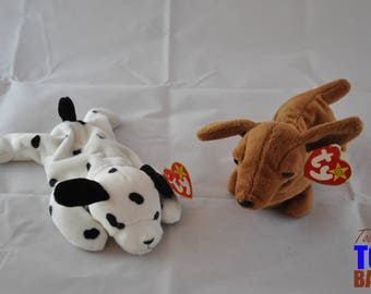 Beanie Baby Dog Set: Dotty the Dalmatian & Weenie the Weiner Dog, Vintage 1995-6 Puppy Dog Toys