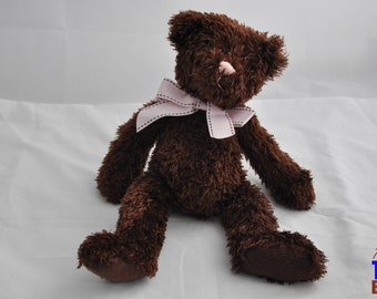 Brown Floppy Teddy Bear Plushie With Pink Ribbon