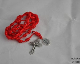 Blessed Miguel Pro Red Knotted Twine Rosary with a Pardon Crucifix