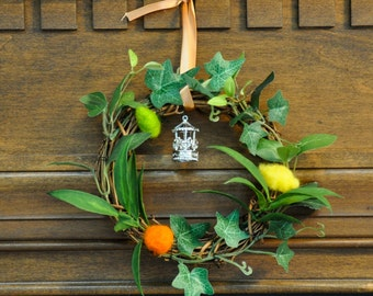 Dale Wreath Inspired by Tolkien/Hobbit Featuring Greenery, Wool Citrus, and a Carousel