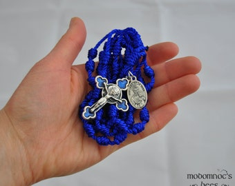 Blue Knotted Twine Our lady of La Vang Vietnamese Rosary Featuring a Matching Blue Crucifix with Rose Detail