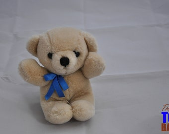 Vintage 1985 Dakin Beige Teddy Bear with Blue Ribbon