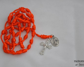 Unique Orange St. Luke Patron Saint Knotted Twine Rosary Featuring a Plant Leaf Detail Crucifix