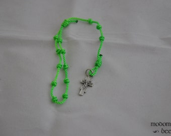 Bright Spring Green Knotted Twine Single Decade Rosary with a Byzantine Crucifix