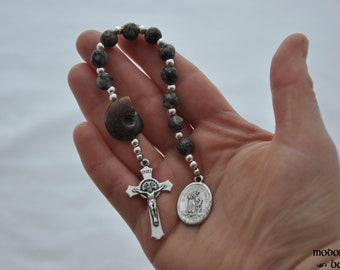 "Unique ""Prehistoric"" St. Francis One-Decade Rosary With Ammonite Our Father Bead and Fossil Agate Beads"
