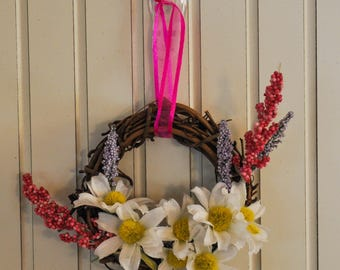 3-Inch Grapevine Wreath with Daisies, Pink & Purple Flowers, and a Pink Ribbon