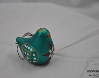 Christmas Ornament - Small Green Bird with Flower Designs