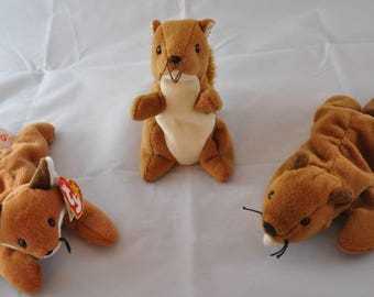 Woodland Beanie Baby Set: Vintage Ty 1996 Sly the Fox, 1995 Bucky the Beaver, &  1996 Nuts the Squirrel