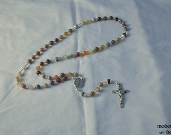 Colorful Bostwana Agate Rosary With Miraculous Medal Centerpiece and Pewter Crucifix