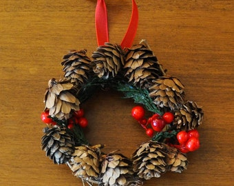 Festive Winter Pinecone Wreath: 4 Inch Wreath Featuring Pinecones, Red Berries, and Real Cedar