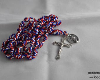 Red, White, and Blue Knotted Twine Rosary with a Miraculous Medal