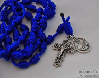 St. Damien of Molokai Patron Saint Blue Knotted Twine Rosary