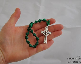 Irish Green Knotted Twine Single Decade Rosary with a Celtic Crucifix