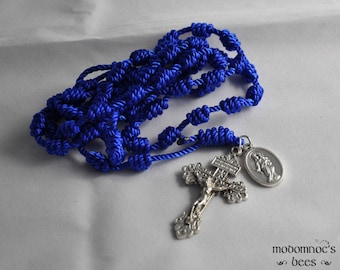 Blue Mary, Help of Christians Knotted Twine Rosary with a Pardon Crucifix