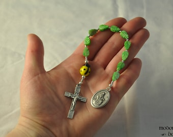 Fun One-Decade St. Francis/St. Anthony Kids' Rosary With Yellow Ladybug Our Father Bead and Green Leaf Beads