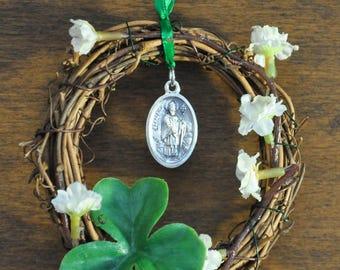 Unique Little Irish St. Patrick Wreath Featuring a St. Patrick/St. Brigid Medal, White Flowers, and a Shamrock