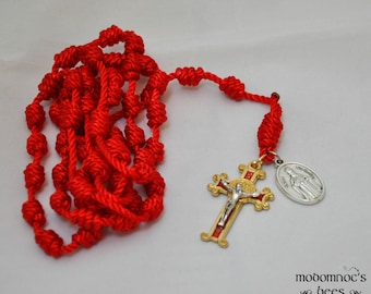 Red Knotted Twine Rosary: St. Nicholas Patron Saint Rosary Featuring a Matching Red & Gold Fancy St. Benedict Medal Crucifix