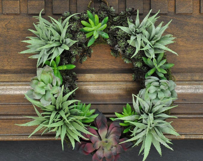 """Featured listing image: Say """"Aloe!"""" Succulent Wreath: Beautiful & Festive 10 Inch Wreath For Any Season or Special Occasion"""