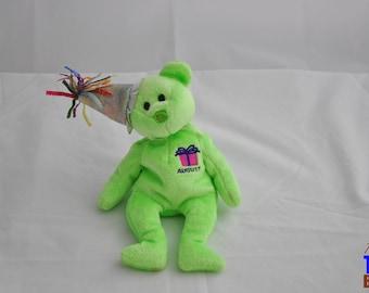 2002 August Birthday Bear Ty Beanie Baby