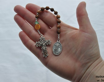 Fun St. Damien of Molokai One-Decade Kids' Rosary With Pineapple Our Father Bead and Palm Wood Beads